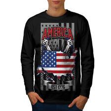 American Nation uomo moda manica lunga T-shirt Nuove | wellcoda