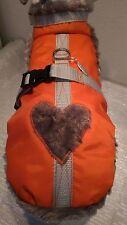Wintermantel, Hundegeschirr orange Herz  Halsband Geschirr Plüsch Hunde