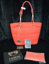 RED Ladies Designer Fason Quilted Tote Shoulder Bag & FREE  Purse - rrp £180