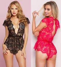 Plus Size Sexy Women Lace Teddy Lingerie Black Red Floral Stretch Bodysuit S-2XL