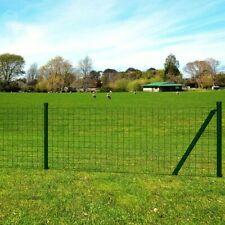 vidaXL Euro Fence Set 10 x 1.5 m Steel Green with Post Garden Barrier Panel