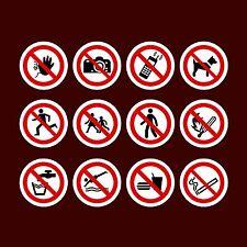 Accès / piétons / food / fumer circulaire Stickers-Boîte de 1, 2, 4, 6, 10