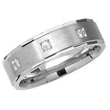 Satin Wedding Ring Solid Sterling Silver 3 Stone Diamond Cut Edge Size M - Z