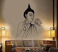 Vinyl Wall Decal Buddha Lotus Flower Buddhism Yoga Meditation Stickers (1311ig)