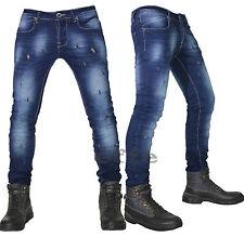 Jeans uomo Strappati Denim slim elasticizzati vita bassa 42 44 46 48 50 52 54