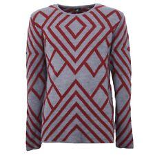 B3632 maglione uomo lana LOFT grigio rosso sweater wool men