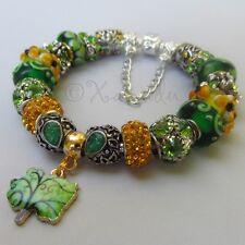 Genuine Sterling Pandora Bracelet w/ European Green And Gold Murano Glass Beads