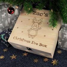 Personalised Vigilia di Natale Scatola, inciso scatola in legno-la renna Rudolph