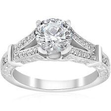 1 3/4 ct Vintage Diamond Engagement Ring 1.5ct center Split Shank 14k White Gold