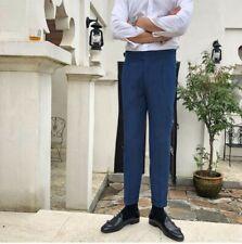 Korean Men's Business Pants British style Trousers Wedding Party Formal Slim Fit