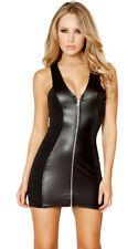 PU Leather Bodycon Women Mini Dress Sexy Wet Look Zipper Lingerie Club Wear