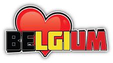 Belgium Art Heart Flag Travel Slogan Car Bumper Sticker  - 3'', 5'', 6'' or 8''