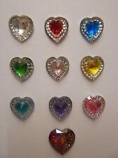 "Heart & Glittery Diamond Tie Pin  ""Colour Option"""