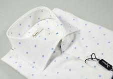 Camicia Ingram slim fit collo francese bianca cotone fil coupè disegno azzurro