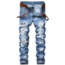 2017 Designer Men's Ripped Jeans Pants Slim Fit Light Blue Denim Joggers Male Di