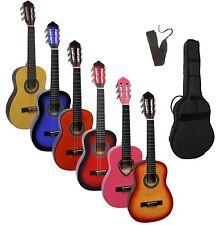 Gitarre/Kindergitarre 1/4, sunburst, natur, rot, blau, pink, Set mit Zubehör!
