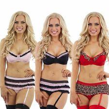 Sexy Bra Knickers Briefs and Suspenders Womens Lingerie Underwear Set New