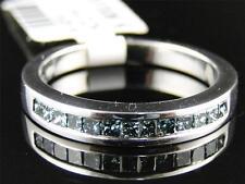 New Ladies White Gold Finish Blue Diamond Princess Fashion Wedding Band Ring .5C