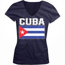 Cuba Flag Colors Font Cuban Soccer Heritage Born From CUB Juniors V-Neck T-Shirt
