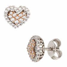 Ohrstecker Herz 585 Gold Weißgold Rotgold 60 Diamanten Brillanten Ohrringe 42049