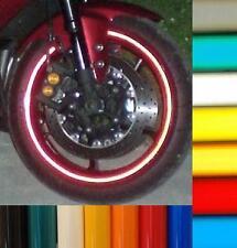 RED REFLECTIVE MOTORCYCLE RIM STRIPE WHEEL DECAL TAPE STICKER MOTORBIKE FULL SET