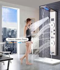 Stainless Steel Shower Panel Tower Rain Waterfall W/Massage Bodys System Jet Tap