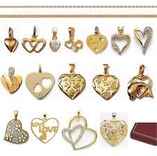 PENDENTIF COEUR AMOUREUX St Valentin en Plaque OR + CHAINE choix Neuf