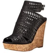 Women's Shoes CHARLES By Charles David APT Peep-Toe Platform Laser Cutout BLACK