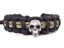 Bracelet en paracord avec Acier Inox skull-verstellbar-biker-männer-frauen