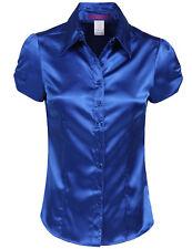 NE PEOPLE Womens Basic Short Sleeve Satin Blouse Top with Waist Tie [NEWT194]