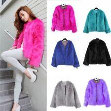FEMME FAUSSE FOURRURE manteau court veste chaude Parka hiver pull cardigan mode