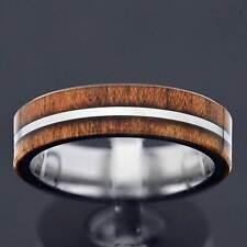 6mm Tungsten Wood Inlay White Strip Center Women's Jewelry Wedding Band