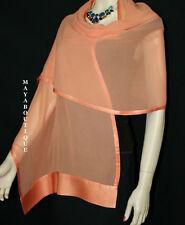 Coral Scarf Wrap Shawl Silk Chiffon Satin Border Maya Matazaro New