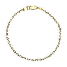 "18K Gold over Silver 2.5mm Diamond-Cut Italian 2-Tone Twist Chain Bracelet 7""-8"""