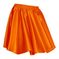 Orange - Women Girl Satin Short Mini Dress Skirt Pleated Retro Elastic Waist