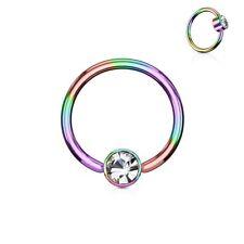 Piercing anillo oculta cristal blanco acero multicolor
