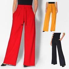 787cc8faa180b Women Paper Bag Trousers Ladies High Waist Wide Flared Leg Palazzo Smart  Pants