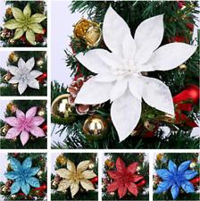5Pcs Glitter Christmas Flower Tree Hanging Ornaments Festival Xmas Decor NEW