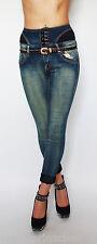 ELY BELLA Vita Alta Turn Up Jeans aderenti + Cintura Tgl 32-40