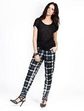 Women's Casual Elastic Waist Zipper Pocket Navy and Gray Checkered Plaid Pants