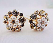 Decorative hair pins clear rhinestones white pearls set of two bridal wedding