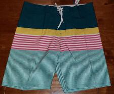 110789a6f9 Men's Old Navy Green Yellow Pink White Stripe Flex Board Shorts Sizes 34 -  48