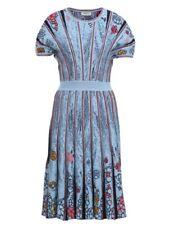 Ivko Kleid Jacquard Pattern dress blau Glasmalerei-Muster bronze Glitzer 192740