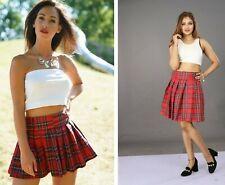 Tartan Midi Mini Skirt Women's Ladies Short High Waist Check Pleated Plaid
