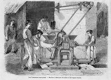 75 PARIS MACHINE BOULET BUISSART TUILE BRIQUE CREUSE KREUTZER GRAVURE 1864