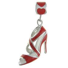 Sterling Silver High Heel Shoe Red Enamel Dangle for European Charm Bracelet