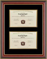 Double Diploma Mahogany red cherry Frame Black Mat gift University Honors C55
