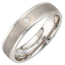 Ring Damenring mit Zirkonia, 925 Silber mattiert, Breite 5mm, Damen, Silberring