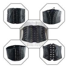 Women's Soft Leather Black Corset Waist Wide Belt Elastic Ladies Fashion Party