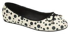 Spot On H2428 Girls White/Black Slip on Textile Casual Ballerina Shoes